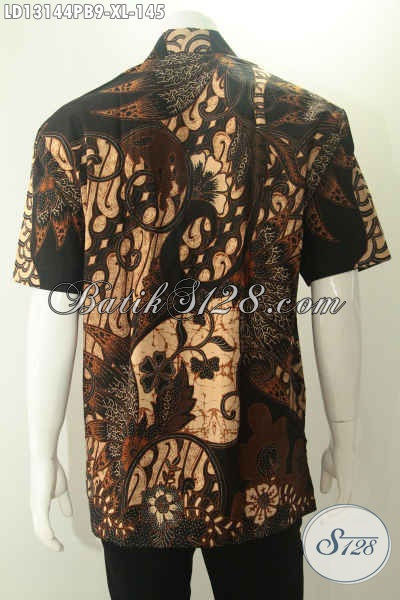 Produk Busana Batik Pria Khas Jawa Tengah Yang Hadir Dengan Kwalitas Istimewa Namun Dengan Harga Terjangakau, Model Lengan Pendek Motif Elegan Jenis Print Cabut [LD13144PB-XL]