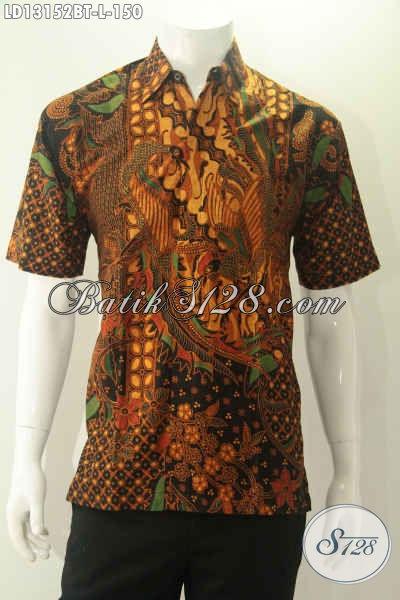 Kemeja Batik Pria Berkwalitas Istimewa Dengan Harga Biasa, Baju Batik Solo Lengan Pendek Motif Terkini Jenis Kombinasi Tulis Hanya 150K [LD13152BT-L]