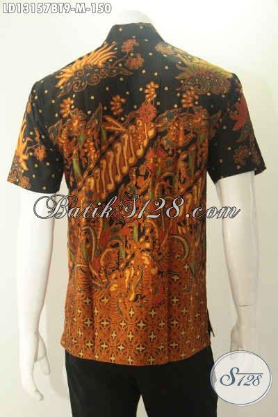 Kemeja Batik Kerja Pria Kantoran Lengan Pendek Halus Motif Elegan Jenis Kombinasi Tulis, Pakaian Batik Modis Untuk Tampil Gagah, Cocok Juga Untuk Acara Pernikahan [LD13157BT-M]