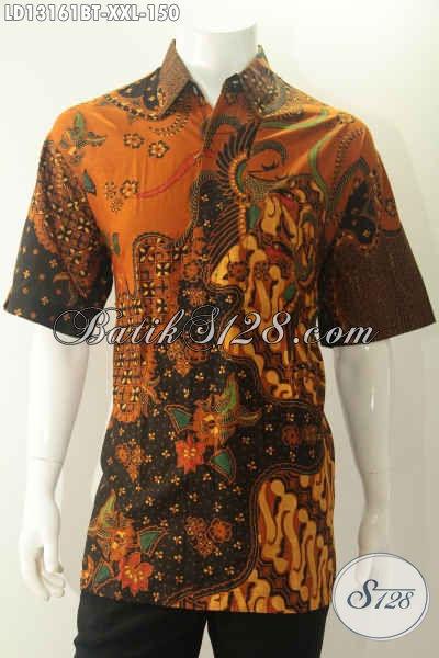 Produk Busana Batik Jumbo Spesial Buat Lelaki Gemuk, Kemeja Lengan Pendek Modis Motif Elegan Dengan Sentuhan Klasik Proses Kombinasi Tulis, Penampilan Lebih Berkelas [LD13161BT-XXL]