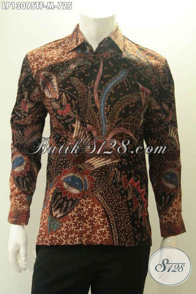 Kemeja Batik Solo Mewah Model Lengan Panjang Pakai Furing, Busana Batik Tulis Asli Motif Bagus Cocok Banget Untuk Acara Formal [LP13095TF-M]