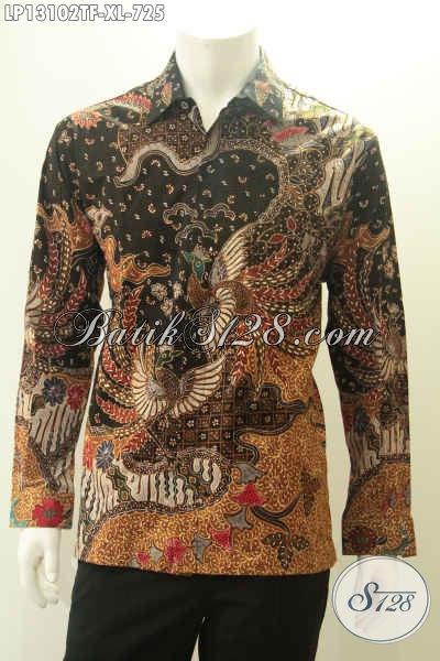 Kemeja Batik Solo Lengan Panjang Istimewa Daleman Full Furing Desain Mewah Berkelas, Baju Batik Tulis Asli Untuk Penampilan Pria Makin Sempurna [LP13102TF-XL]