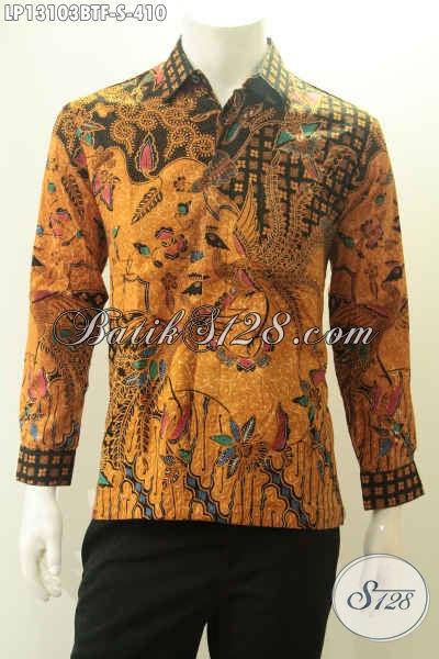 Baju Batik Pria Lengan Panjang Motif Bagus Berbahan Halus Jenis Kombinasi Tulis Berpadu Dengan Desain Mewah Pakai Furing, Cocok Untuk Ke Pernikahan [LP13103BTF-S]