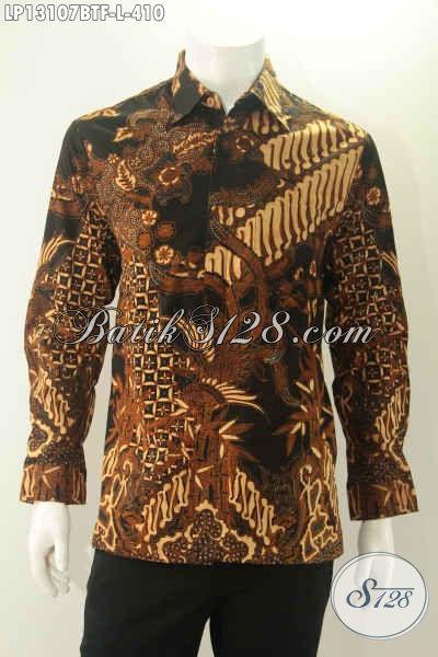 Batik Kemeja Elegan Model Lengan Panjang Full Furing, Pakaian Batik Pria Terkini Yang Modis Untuk Acara Resmi Hanya 400 Ribuan Jenis Kombinasi Tulis [LP13107BTF-L]