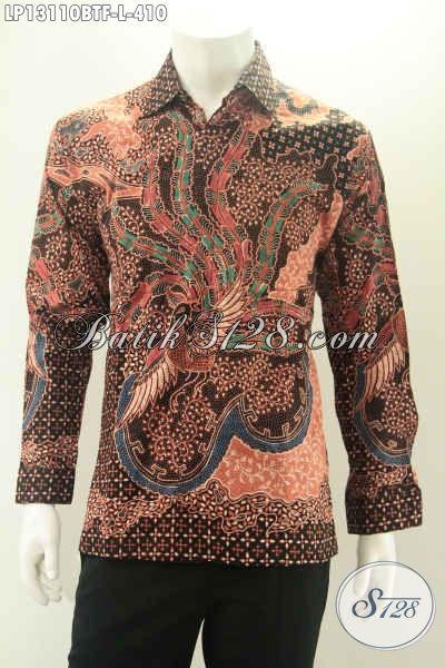 Kemeja Batik Pria Lengan Panjang Halus Motif Bagus Warna Klasik Jenis Kombinasi Tulis, Pakaian Batik Solo Kekinian Untuk Acara Resmi Maupun Rapat Kerja [LP13110BTF-L]