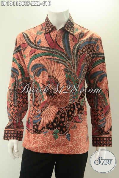 Kemeja Batik Pria Lengan Panjang Istimewa Daleman Full Furing, Pakaian Batik Halus Motif Bagus Kombinasi Tulis Cocok Untuk Kerja Dan Kondangan [LP13113BTF-XXL]