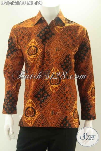 Baju Batik Motif Klasik Jenis Print Cabut Desain Berkelas Untuk Pria Muda Dan Dewasa Lengan Panjang Full Furing, Cocok Buat Ke Acara Pernikahan Muapun Rapat [LP13121PBF-M , L]