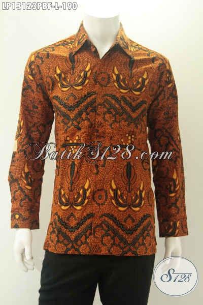 Busana Batik Pria Lengan Panjang Halus Motif Elegan, Kemeja Batik Kekinian Kwalitas Istimewa Desain Mewah Full Furing Cocok Untuk Acara Resmi [LP13123PBF-L]