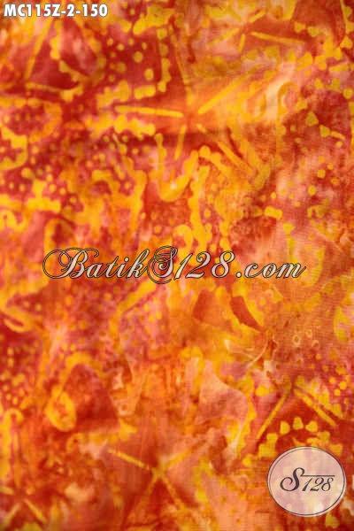 Mukena Batik Motif Trendy Warna Orange Motif Unik Jenis Cap Smoke, Berbahan Halus Atas Santung Dan Bawah Katun Batik Kwalitas Istimewa Harga Terjangau [MC115-Dewasa]
