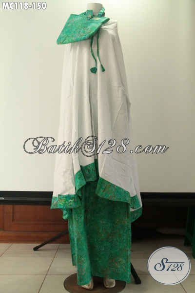 Mukena Batik Wanita Muslimah Warna Hijau Bahan Halus Kombinasi Santung Dan Katun Adem Dan Nyaman Di Pakai Sholat [MC118-Dewasa]