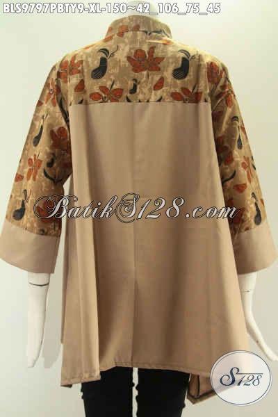 Produk Baju Batik Wanita Terbaru Hadir Dengan Kombinasi Kain Polos Toyobo Halus Dan Nyaman Di Pakai, Model Kerah Shangahi Kancing Depan Lengan 3/4 [BLS9797PBTY-XL]