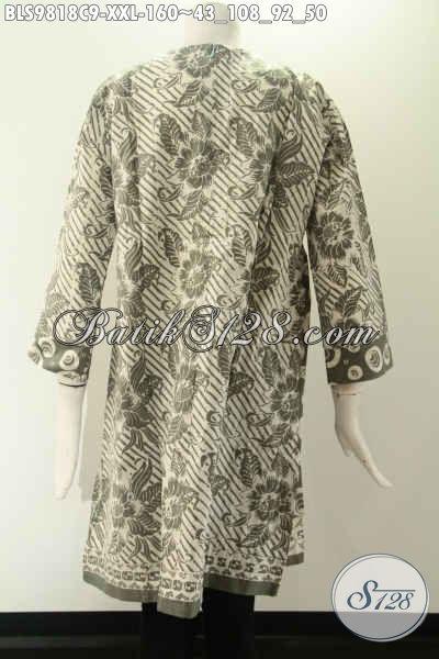 Produk Busana Batik Wanita Terbaru Kwalitas Bagus Dengan Harga Terjangkau, Model Lengan 7/8 Tanpa Kerah Pakai Resleting Jepang Di Belakang Hanya 160K [BLS9818C-XXL]