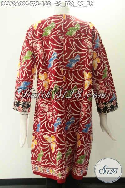 Blouse Batik Motif Kombinasi Nan Trendy, Baju Batik Wanita Gemuk Kekinian Lengan 7/8 Tidak Pakai Kerah Dan Di Lengkapi Resleting Jepang Di Belakang Bahan Halus Nyaman Di Pakai [BLS9820C-XXL]