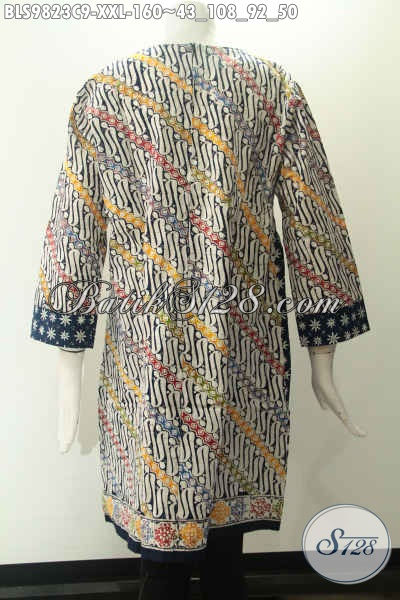 Busana Batik Wanita Dual Motif Modern Klasik, Blouse Lengan 7/8 Desain Tanpa Kerah Pakai Resleting Jepang, Pas Banget Untuk Acara Resmi Maupun Kondangan Tampil Berkelas [BLS9823C-XXL]