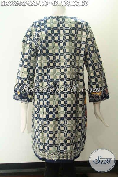 Toko Online Pakaian Batik Khas Jawa Tengah, Sedia Blouse Lengan 7/8 Tanpa Kerah Motif Modern Berbahan Halus Dan Di Lengkapi Resleting Jepang Di Bagian Belakang, Spesial Buat Wanita Gemuk [BLS9824C-XXL]