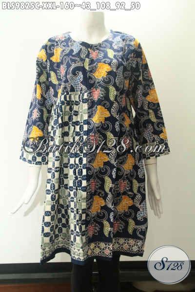 Produk Baju Batik Solo Kwalitas Istimewa Spesial Buat Wanita Gemuk, Blouse Lengan 7/8 Motif Trendy Kekinian Model Tanpa Kerah Pakai Resleting Jepang Di Belakang Hanya 100 Ribuan Saja [BLS9825C-XXL]