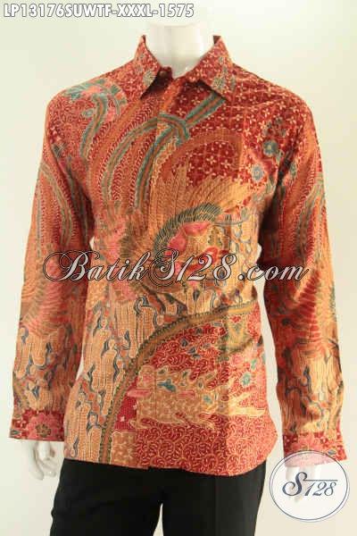 Kemeja Batik Solo Mewah Model Lengan Panjang Full Furing Desain Formal, Baju Batik Pria Bahan Sutra Motif Elegan Tulis Asli Menunjang Penampilan Lebih Sempurna [LP13176SUWTF-XXXL]