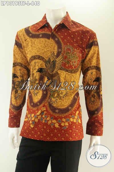 Toko Busana Batik Online Pilihan Lengkap, Jual Kemeja Lengan Panjang Batik Tulis Untuk Pria Desain Mewah Full Furing Cocok Untuk Acara Resmi [LP13193TF-L]