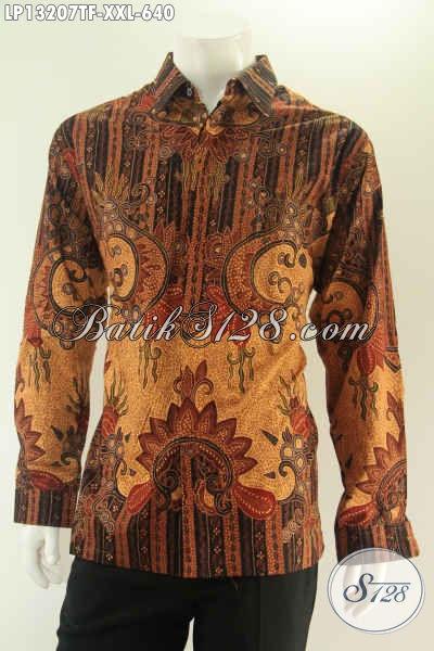 Koleksi Baju Batik Lengan Panjang Jumbo Kwalitas Premium, Busana Kemeja Batik Pria Gemuk Jenis Tulis Motif Bagus Daleman Pakai Furing, Cocok Buat Ngantor Dan Acara Resmi [LP13207TF-XXL]