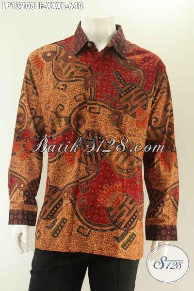 Jual Kemeja Batik Premium Ukuran Jumbo Eksklusif Untuk Pria Gemuk, Pakaian Batik Terkini Model Lengan Panjang Full Furing Nan Mewah Motif Tulis Asli [LP13208TF-XXXL]