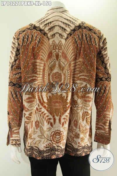 Kemeja Batik Kerah Shanghai Motif Terbaru Nan Elegan, Baju Batik Koko Desain Berkelas Lengan Panjang Yang Bikin Penampilan Pria Lebih Terlihat Istimewa [LP13221PBK-XL]