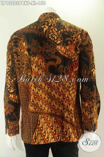 Kemeja Batik Solo Lengan Panjang Elegan Motif Klasik Model Koko Atau Kerah Shanghai, Busana Batik Kekinian Untuk Pria Tampil Gagah Berwibawa [LP13223PBK-XL]