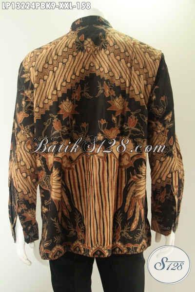 Baju Batik Koko Lengan Panjang Motif Baru Nan Elegan Jenis Print Cabut, Kemeja Kerah Shanghai Pria Masa Kini Pilihan Tepat Untuk Kondangan Dan Acara Formal [LP13224PBK-XXL]