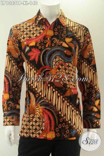 Toko Busana Batik Online Koleksi Lengkap Dan Up To Date, Jual Kemeja Lengan Panjang Batik Solo Motif Modern Pas Untuk Acara Resmi Hanya 100 Ribuan Saja [LP13231P-XL]