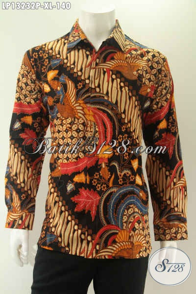 Busana Batik Pria Lengan Panjang Istimewa Khas Jawa Tengah Harga Murah, Kemeja Batik Solo Asli Motif Bagus Bahan Halus Nyaman Di Pakai Hanya 140K [LP13232P-XL]