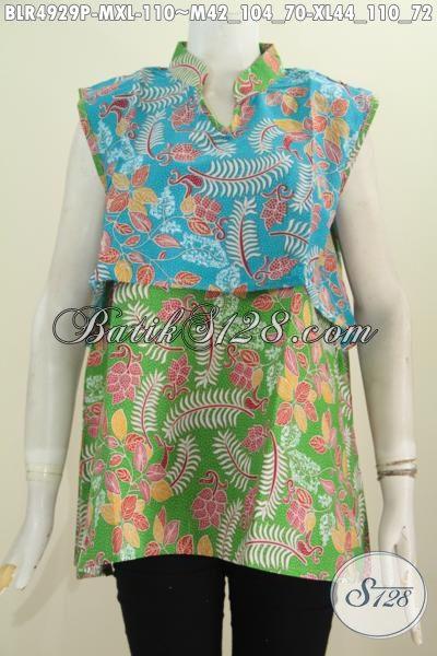 Pakaian Batik Motif Trendy Desain Vest Balero Proses Printing, Pakaian Batik Cewek Masa Kini Yang Ingin Tampil Cantik Dan Anggun [BLR4929P-M , XL]