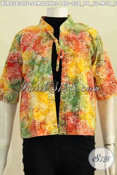 Baju Batik Balero Modis Motif Unik Warna Gradasi Proses Cap Smoke, Baju Batik 3/4 Full Furing Harga 140K [BLR6383CSF-S , L , XL]