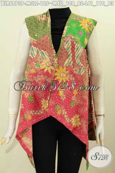 Baju Batik Wanita Yang Bagus Trendy Dan Modis, Blaero Batik Tanpa Lengan Buatan Solo Motif Terkini Proses Printing Hanya 125K [BLR6873P-M , L]