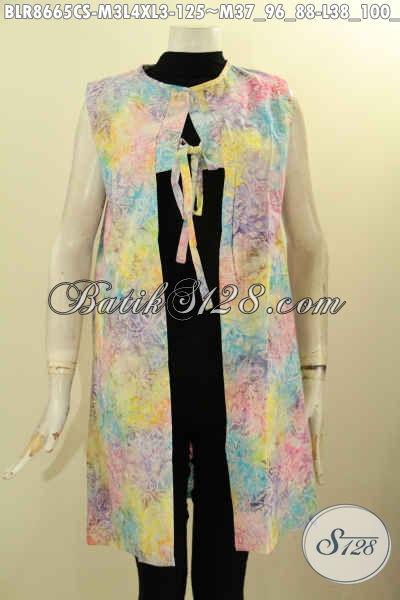 Balero Batik Trendy Desain Terkini, Outer Batik Wanita Muda Model Tali Depan Untuk Tampil Gaya Di Lengkapi Katong Dalem Sebelah Kanan Hanya 125K [BLR8665CS-M , L , XL]