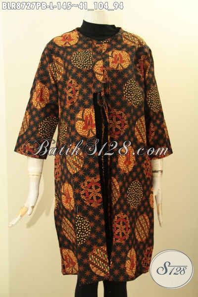 Model Baju Batik Balero Nan Modis, Busana Batik Luaran Untuk Wanita Tampil Gaya Dan Keren, Bahan Adem Model Bertali Depan Di Lengkapi Kantong Dalam Hanya 145K [BLR8727PB-L]