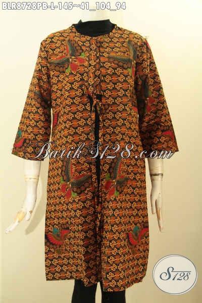 Sedia Outer Batik Wanita Terkini, Busana Batik Modis Depan Bertali Di Lengkapi Saku Dalam, Bahan Halus Motif Klasik Printing Cabut, Penampilan Anggun Menawan [BLR8728PB-L]