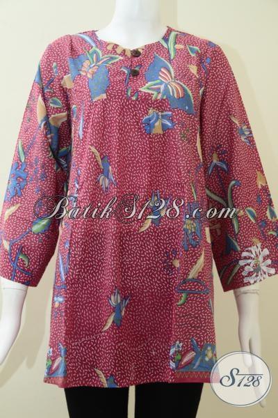 Baju Batik Warna Merah Muda,Blus Bahan Dingin Motif Kupu Dan Bunga [BLS1321PR-XL]