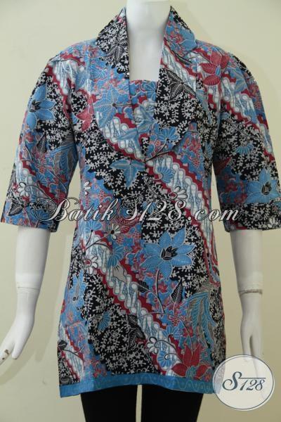 Pakaian Batik Formal Untuk Seragam Kantor Perempuan Karir, Baju Batik Lengan Pendek Motif Klasik Modern Yang Trendy Dan Berkelas [BLS1871P-S]