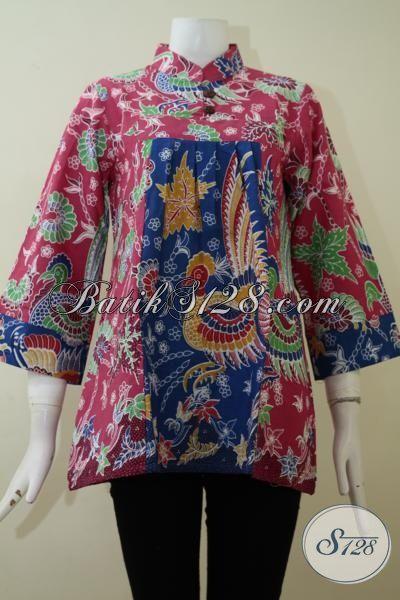 Jual Busana Batik Wanita  Model Yang Paling Banya Di Cari, Blus Batik Warna Kombinasi Merah Jambu Dan Biru Dengan Motif Keren Meningkatkan Kwalitas Penampilan Perempuan Modern [BLS2184P-M]