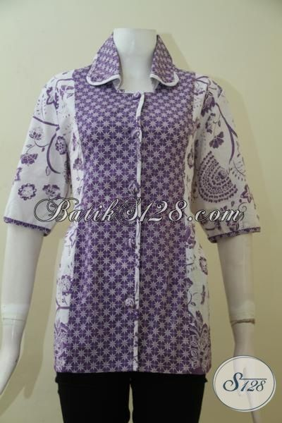 Baju Batik Solo Trendy Kwalitas Halus Dan Adem, Busana Blus Batik Proses Print Model Terbaru Pas Buat Wanita Muda Tampil Cantik Dan Feminim [BLS2495P-L]