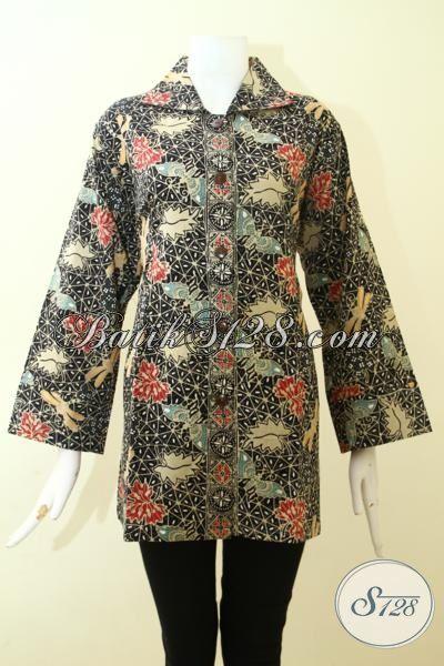 Jual Pakaian Batik Wanita Lengan Tiga Perempat Motif Unik, Blus Batik Seragam Kerja Perempuan Kantoran Terkini Proses Cap Tulis [BLS2563CT-XL]