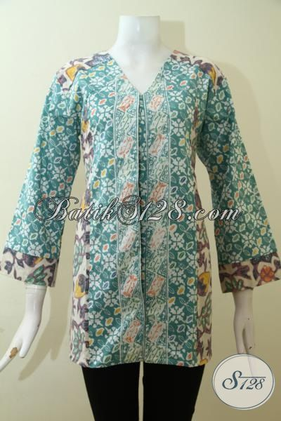 Baju Batik Cap Warna Hijau Desain Mewah, Pakaian Batik ...