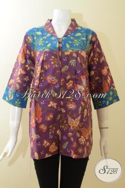 Blus Batik Print Desain Keren, Baju Batik Wanita Dewasa, Pakaian Batik Kwalitas Halus Hanya Rp 100.000,- [BLS2969P-M]