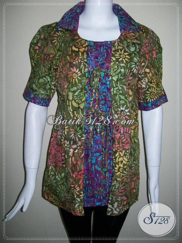 Baju Batik Anak Muda Gaul,Batik Modis Dan Warna Paduan Hijau Dan Ungu [BLS323C-M]