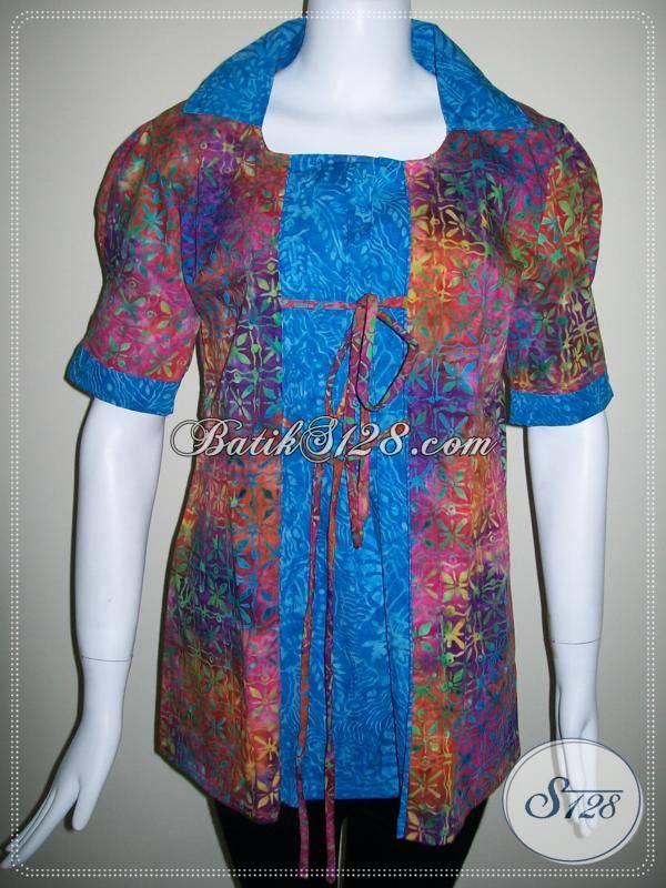 Blus Batik Kombinasi Dua Warna,Model Batik Trendy Dan Motif Abstrak [BLS327C-L]
