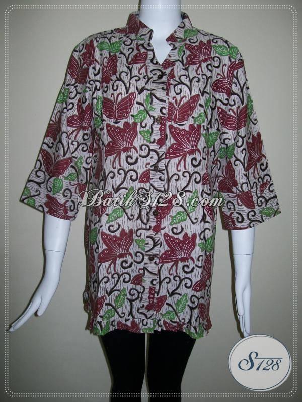 Blus Batik Motif Kupu Warna Merah Maroon,Baju Batik Trendy ...