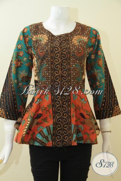 Blus Batik Modern Desain Tanpa Kerah, Pakaian Batik Elegan ...