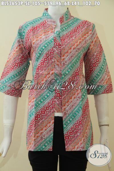 Pedagang Pakaian Batik Online Sedia Blus Batik Kerja Yang Banyak Di Cari Wanita Kantoran, Produk Terbaru Dari Solo Berbahan Halus Proses Print Desain Mewah [BLS3653P-L]