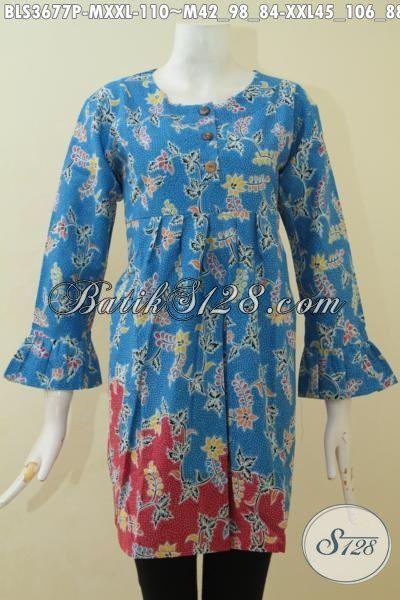 Batik Blus Warna Biru Kombinasi Merah, Baju Batik Printing Halus Model Terbaru Yang Fashionable Buat Kerja Dan Santai [BLS3677P-M]