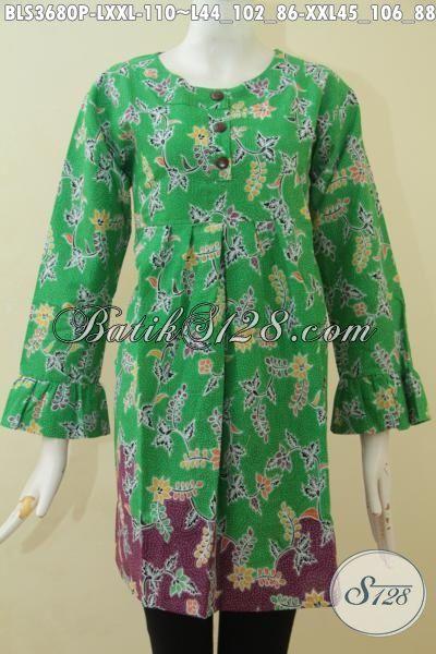 Sedia Baju Batik Modern Buat Wanita Dewasa, Pakaian Batik Modern Desain Berkelas Yang Cocok Untuk Santai Dan Formal, Batik Solo Proses Printing Harga 100 Ribuan [BLS3680P-L]