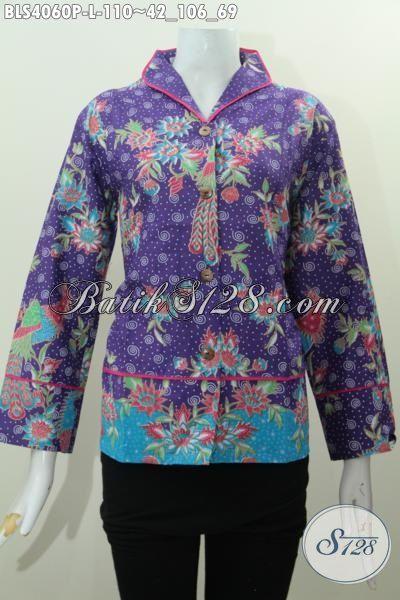 Blus Batik Warna Ungu Dengan Motif Bunga Yang Trendy ...